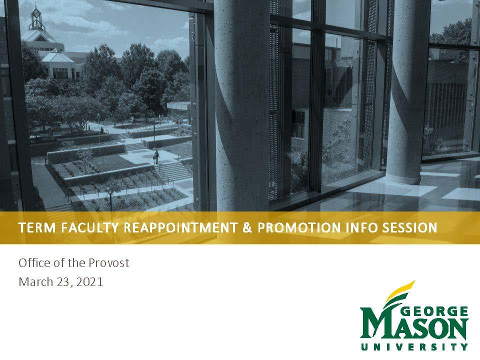 Term Faculty Reappointment and Promotion Info Session